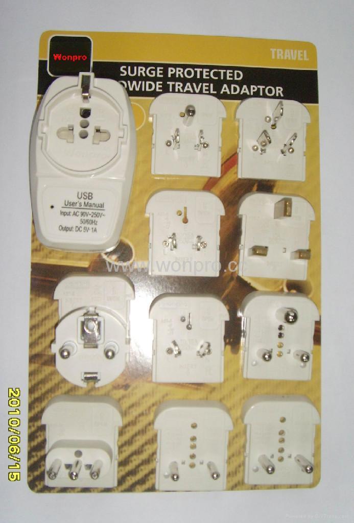 欧洲通旅游转换器组带USB充电(ASTGFDBU-P10) 1