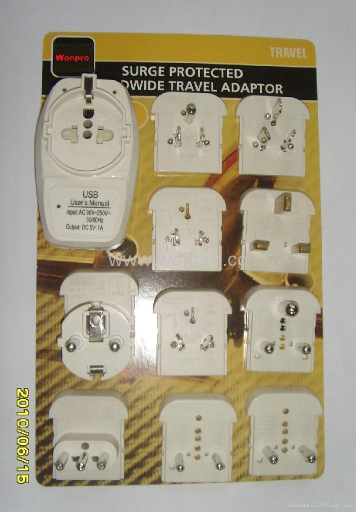 Euro type Universal Travel Adapter Kit w/ built-in USB charger(ASTGFDBU-P10vs) 1