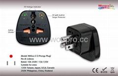 美式萬用安全轉換器附雙電壓指示燈與突波保護器(WASvs-5.BK )