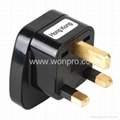 UK, Iraq  Grounded Plug Adapter with safety shutter(WAS-7-BK)