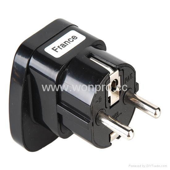 Schuko  Grounded Plug Adapter(WAS-9-BK) 1