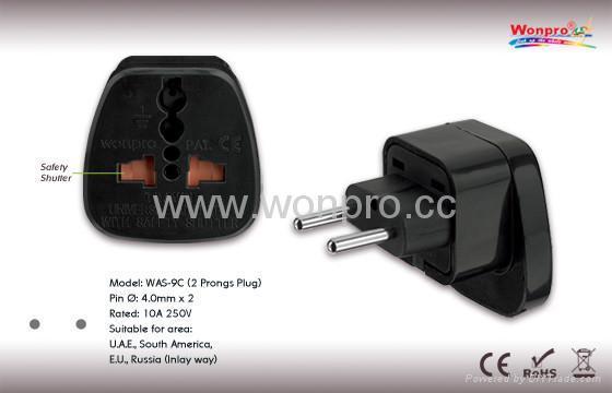 EU (European Union) Plug Adapter (Ungrounded, Inlay)(WAS-9C.BK) 1