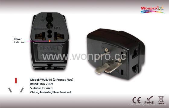 China (and old Australia) Plug Adapter (Grounded) (WAIIIv-16.BK) 1