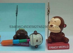 Monkey ballpen with Memo name card holder
