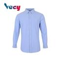 Wholesale blue plain 100% cotton long sleeve shirts for men 1