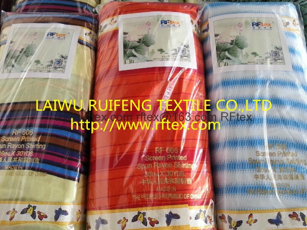 100% spun rayon printed fabric 1