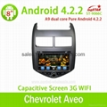 Pure Android 4.2 Car multimedia gps dvd player for Chevrolet Aveo with Steering  1