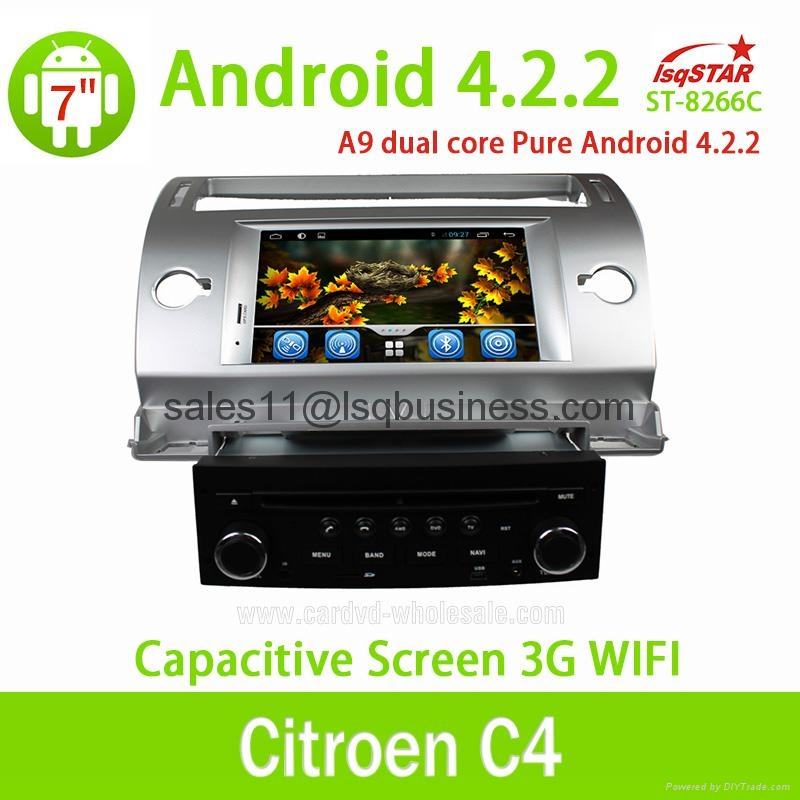 Pure Android 4.2.2 Autoradio DVD Player For Citroen C4 With Cortex A9  2