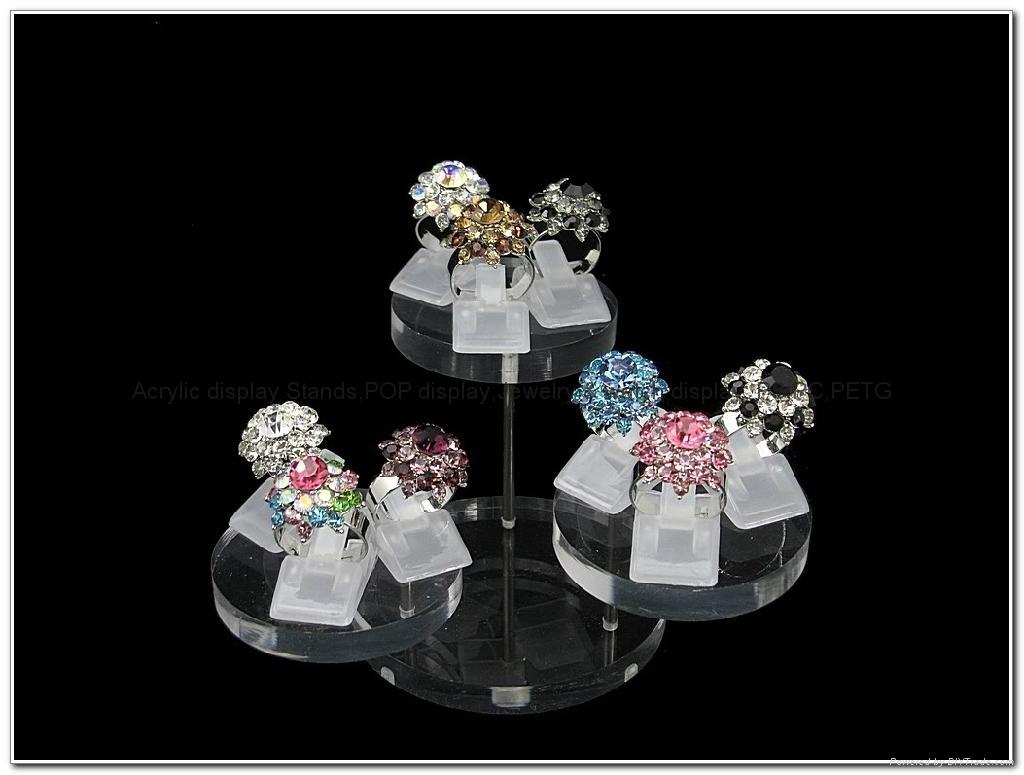 亞克力珠寶展示架,亞克力圓形 飾品 首飾道具 戒指 鑽石 珠寶 擺件轉台
