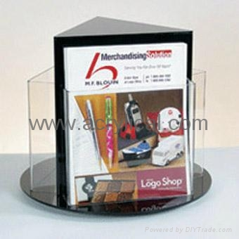 acrylic leaflet stand with lazy susan