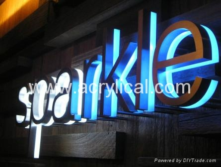 Metal sign with LED lighting system