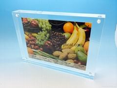 acrylic photo frame,acrylic block sign holder vertical/horizontal measures 4x7