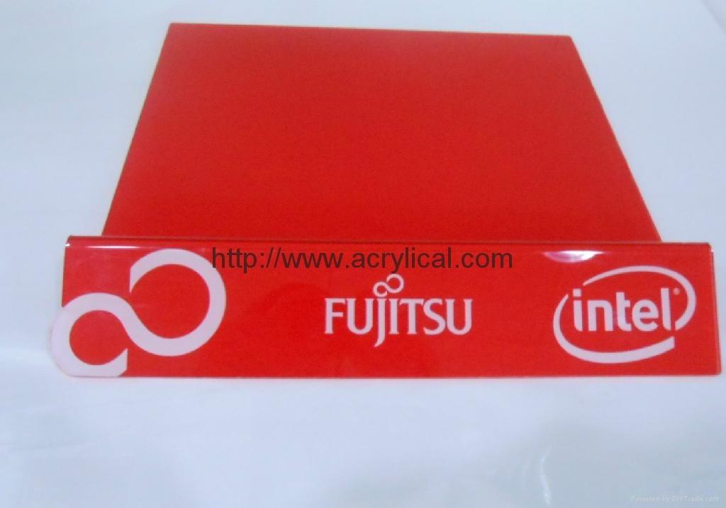 FUJITSU laptop display stand with Intel logo