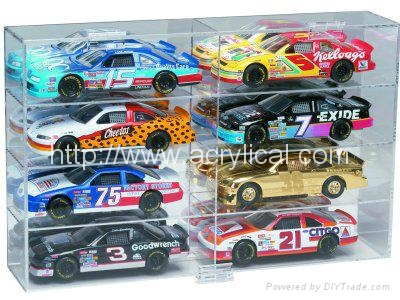 8 CAR ACRYLIC DISPLAY CASE - 8 FREE NAME PLATES