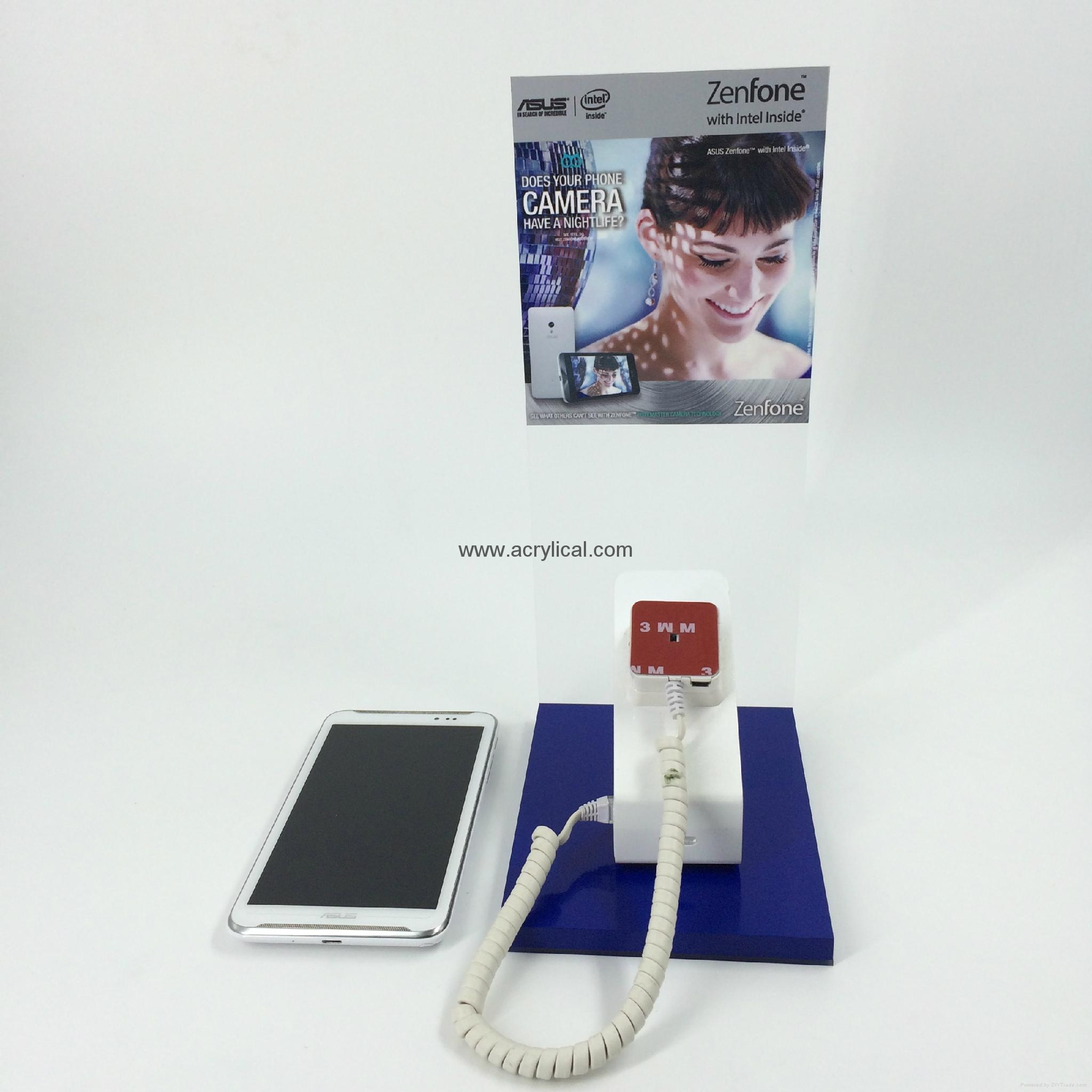 cell phone stand / phone display stands with security alarm system