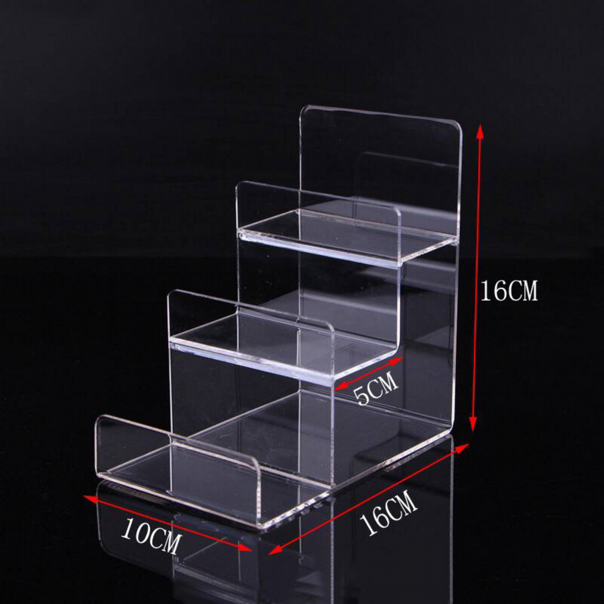 We offer a wide range of Acrylic Risers to accent, raise, highlight, and make attractive displays in your store, business, or in your home.  Whether you are looking for small Acrylic Risers to hold small items such as figurines, jewelry, and model cars or large risers we have a size that will work for you. We also offer a wide variety of other attractive Clear Acrylic Display Pedastels, Acrylic Stairways, and Tiered Acrylic Displays to fit most any need.  We carry over 100 different sizes and styles of acrylic risers in stock for immediate shipment.