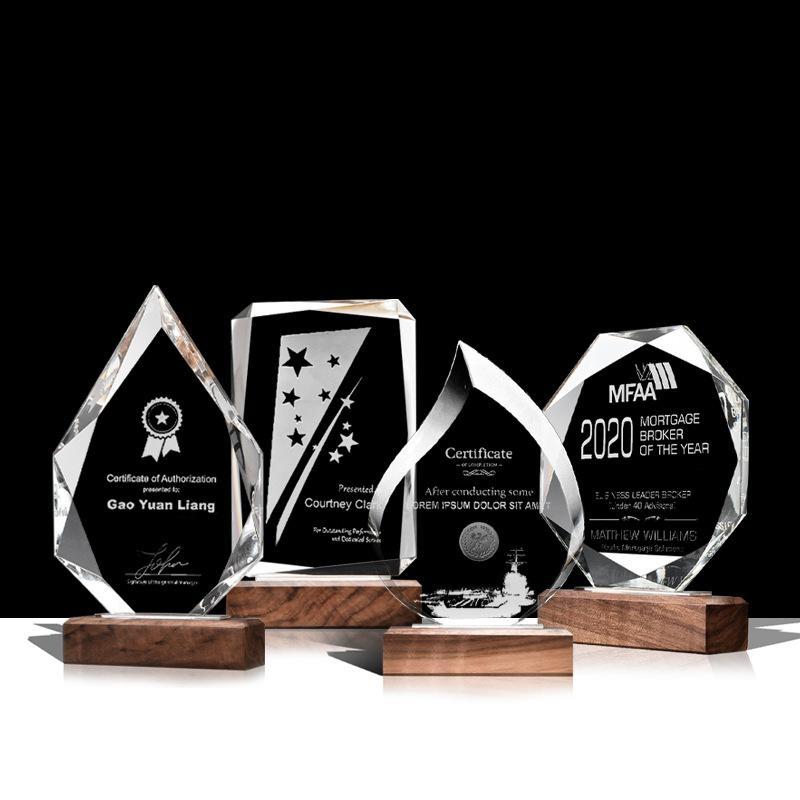 水晶獎杯創意木質獎杯定製內雕  牌榮譽牌匾獎牌定做70週年留念