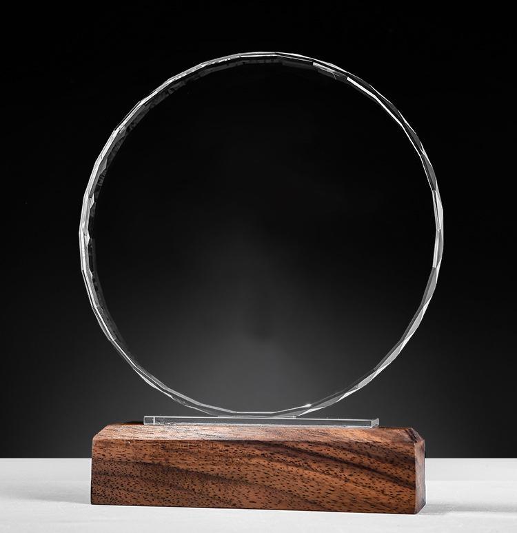 建黨水晶獎杯定製創意木質獎牌定做內雕  製作新人5G榮譽牌匾