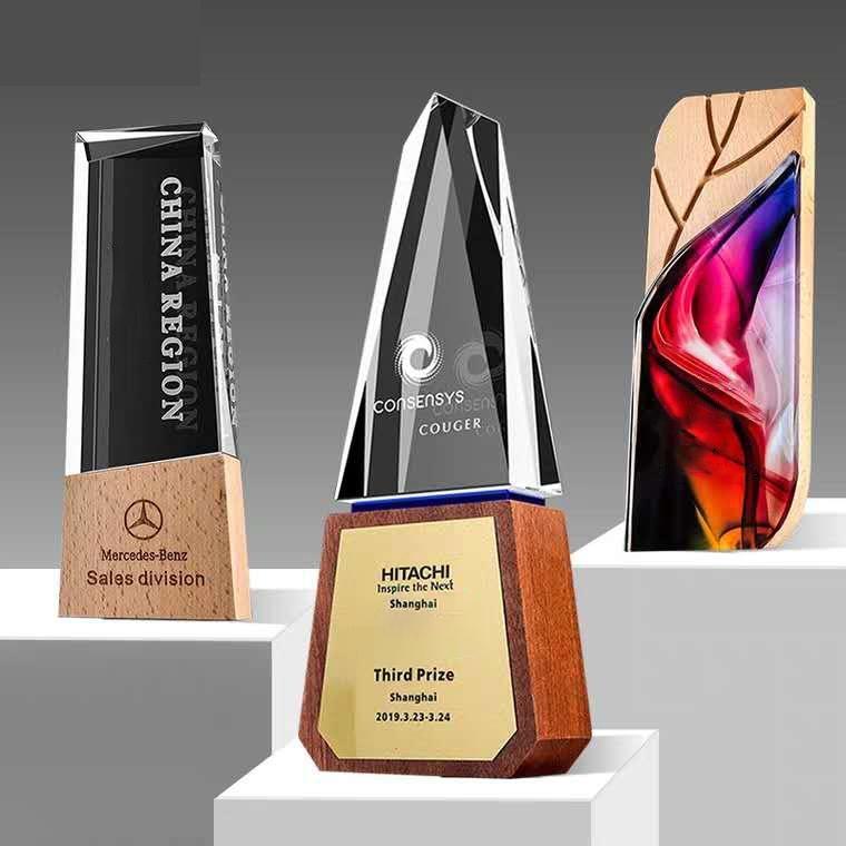 水晶獎杯定製定做創意木質獎杯彩印團隊比賽  企業  員工刻字