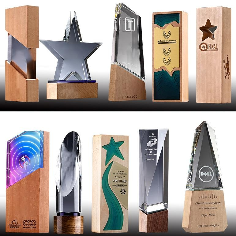 創意木質水晶獎杯定製定做企業公司年會  員工獎牌  榮譽頒獎