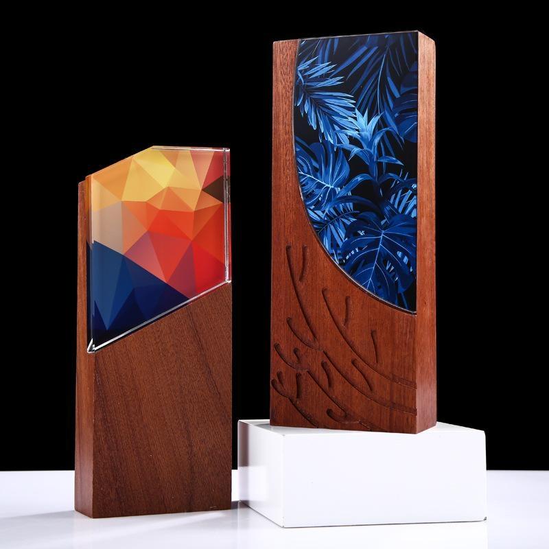 木質  牌獎杯獎牌榮譽証書定製實木水晶刻字牌匾經銷商木托促銷