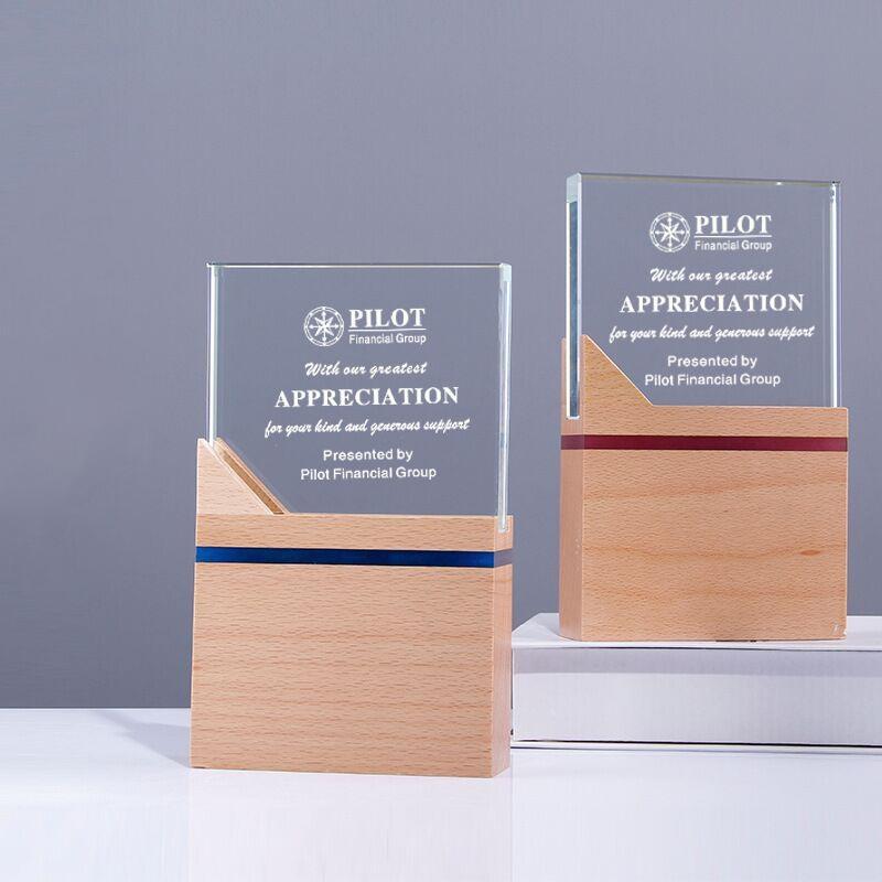 實木水晶獎杯定製定做木質木托獎杯獎牌製作年會頒獎  員工刻字