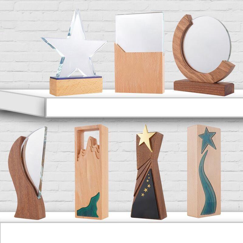 圓形實木獎牌加盟  牌製作木質牌匾刻字獎杯定製定做榮譽証書