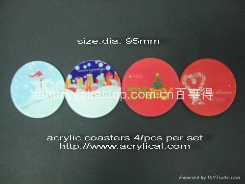 acrylic coaster size:90mmx90mm