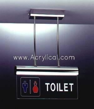 Acrylic tolet  sign with LED
