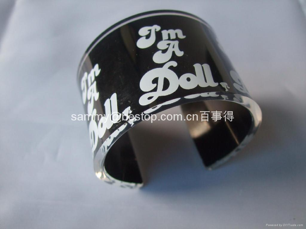 acrylic bangle with SCREEN PRINTING