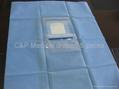 Ophthalmic drape with 1 fluid collectiion pouch