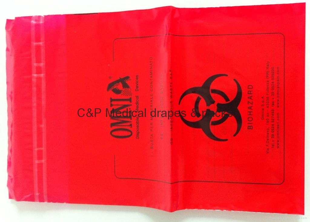 Waste Bag / PE red color / 22 x 53cm / self sealing