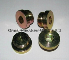 Steel oil drain sump plug