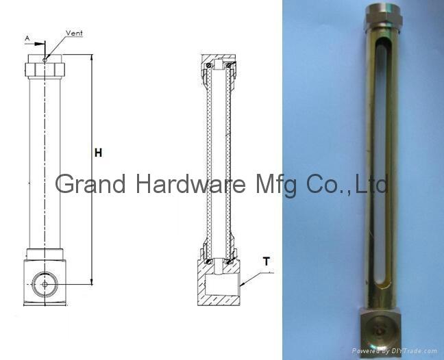 brass oil level sight gauge npt thread 1/4