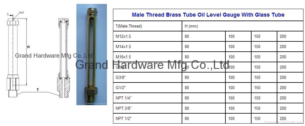 male thread brass tube oil level indicator