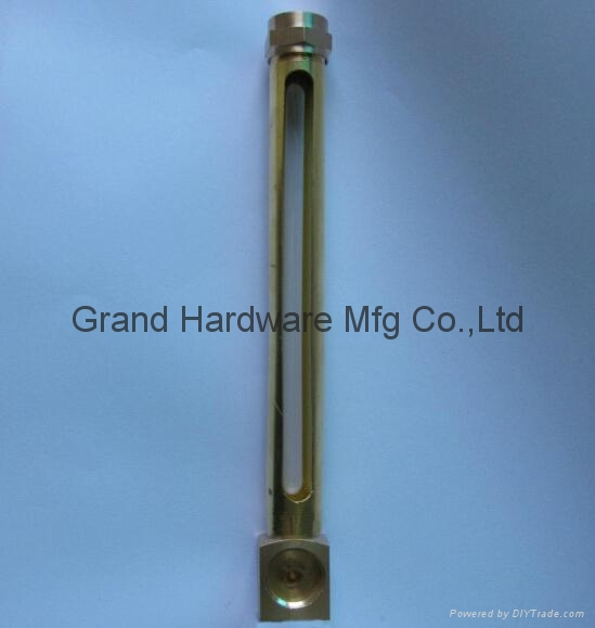 Brass oil level gauge with glass