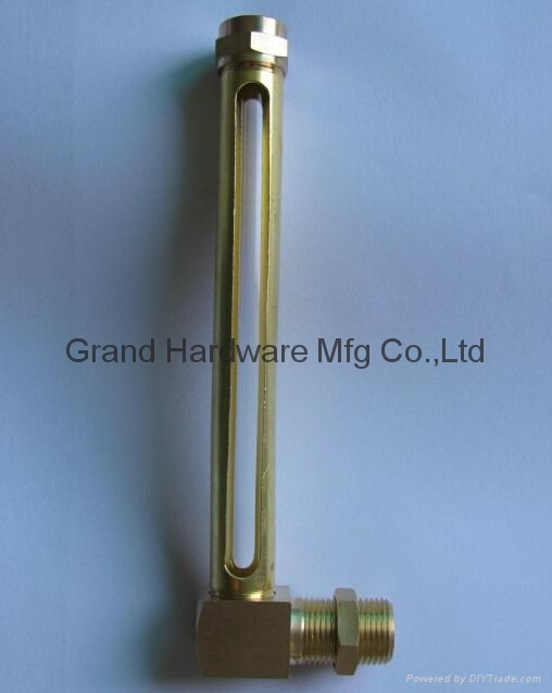 Brass Oil level gauge with glass tube(L Type) 15