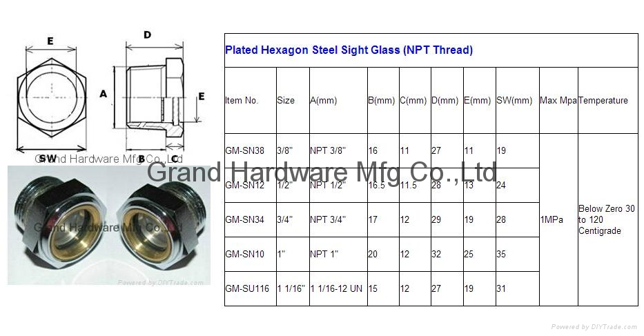 NPT Steel oil level sight glass for centrifugal pump