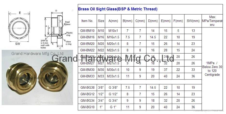 BSP2寸英制螺纹圆形黄铜油镜油窗液位器油位器可定做 6