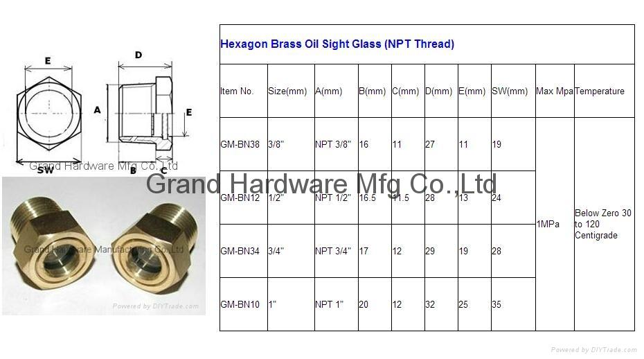 "GM-BN12 美製NPT1/2""泵用銅油鏡視鏡油位鏡 2"