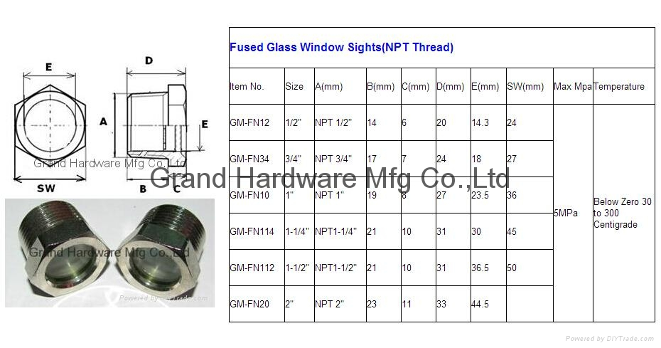 NPT Fused sight window for refrigeration equipment