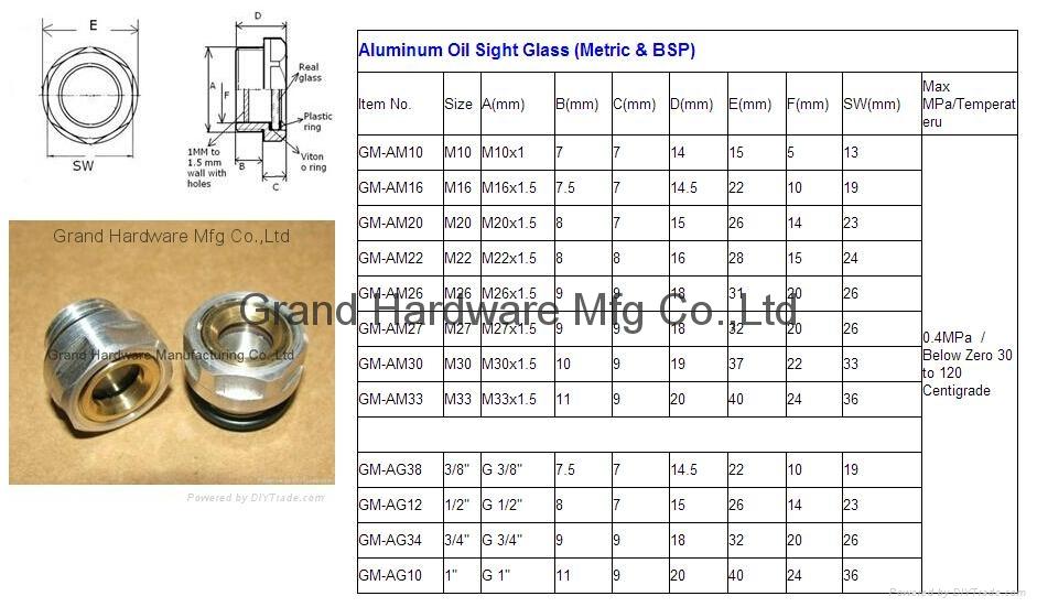 BSP 1 Inch oil level sight glass plugs indicator for screw air comressor 8