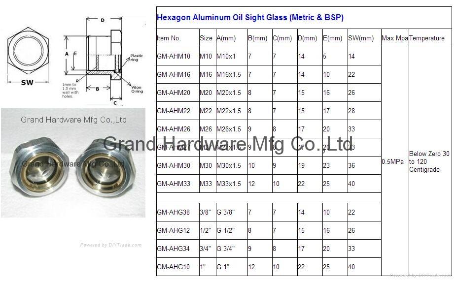 Roots Vaccum pump Hexagon Aluminum Oil Sight Glass G1-1/4 inch 3