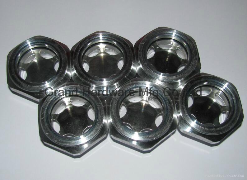 Roots Vaccum pump Hexagon Aluminum Oil Sight Glass G1-1/4 inch 4
