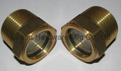 NPT1寸泵用黄铜油镜油窗液位观察镜油位器油标油视镜