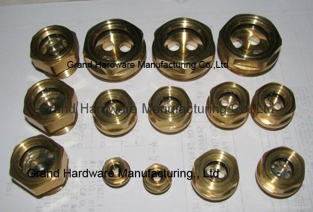 Hexagon head brass oil level sight glass