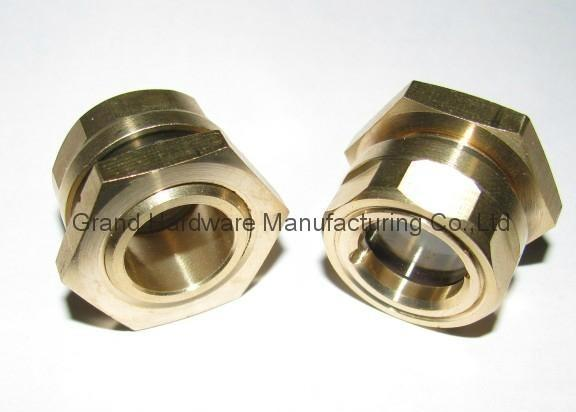 Brass oil sight glass for hydraulic oil tank