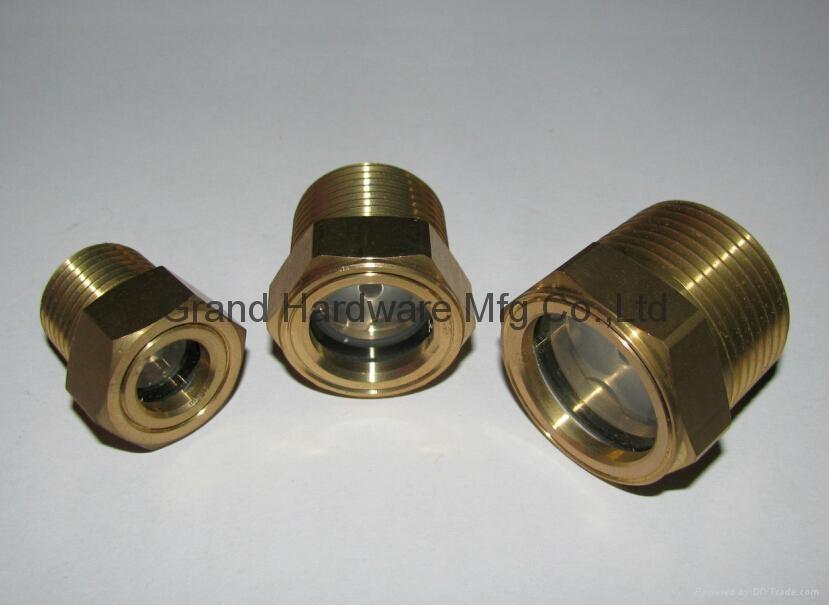 NPT Brass oil level sight glass for process pump