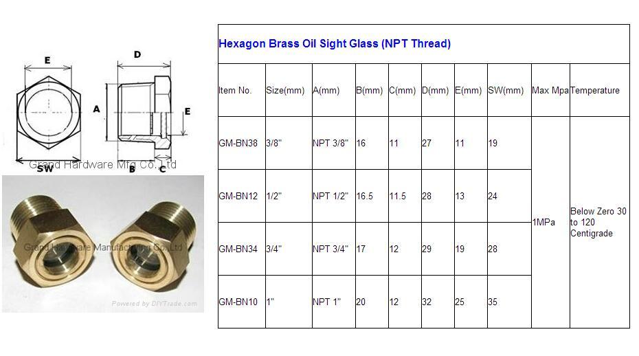 NPT Steel oil level sight glass zinc plated