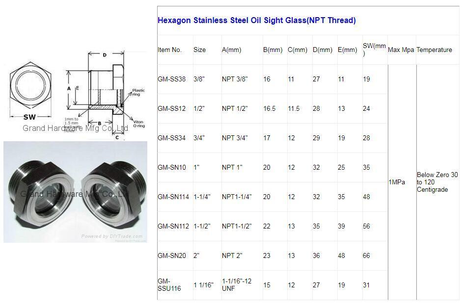 "NPT3/4"" Oil level Sight Glass Plug for process centrifugal pump 8"